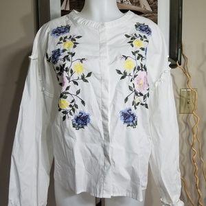 Sanctuary Embroidered White Shirt Sz L